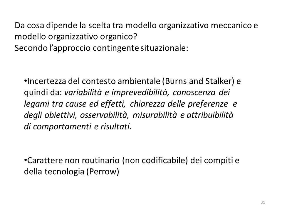 Da cosa dipende la scelta tra modello organizzativo meccanico e modello organizzativo organico