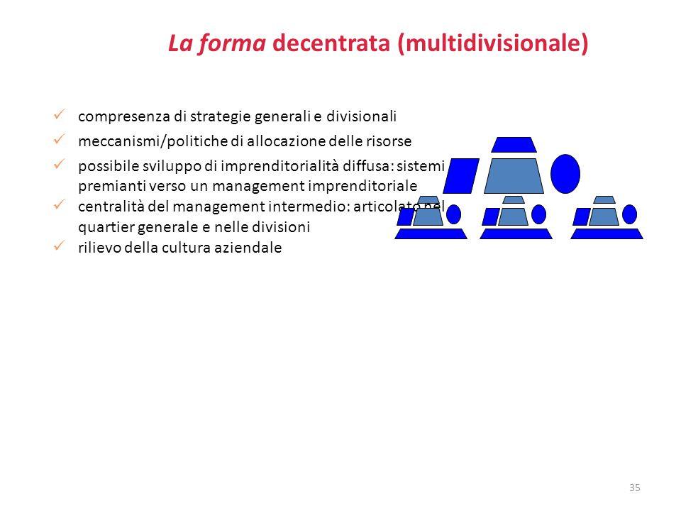 La forma decentrata (multidivisionale)