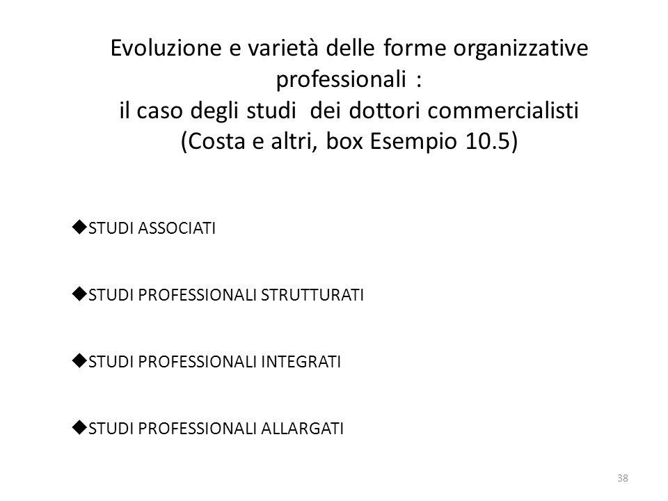 Evoluzione e varietà delle forme organizzative professionali :