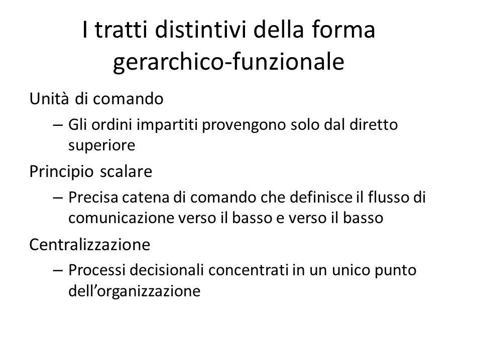 I tratti distintivi della forma gerarchico-funzionale