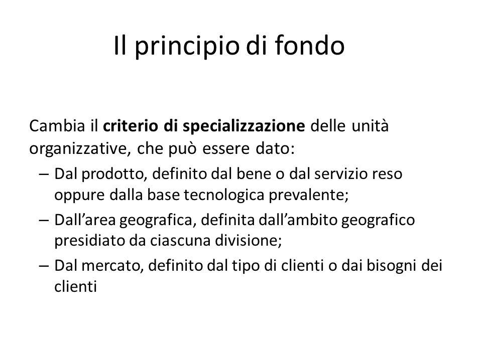 Il principio di fondo Cambia il criterio di specializzazione delle unità organizzative, che può essere dato: