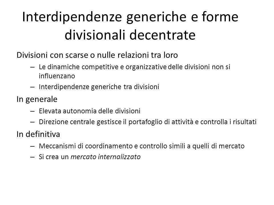 Interdipendenze generiche e forme divisionali decentrate