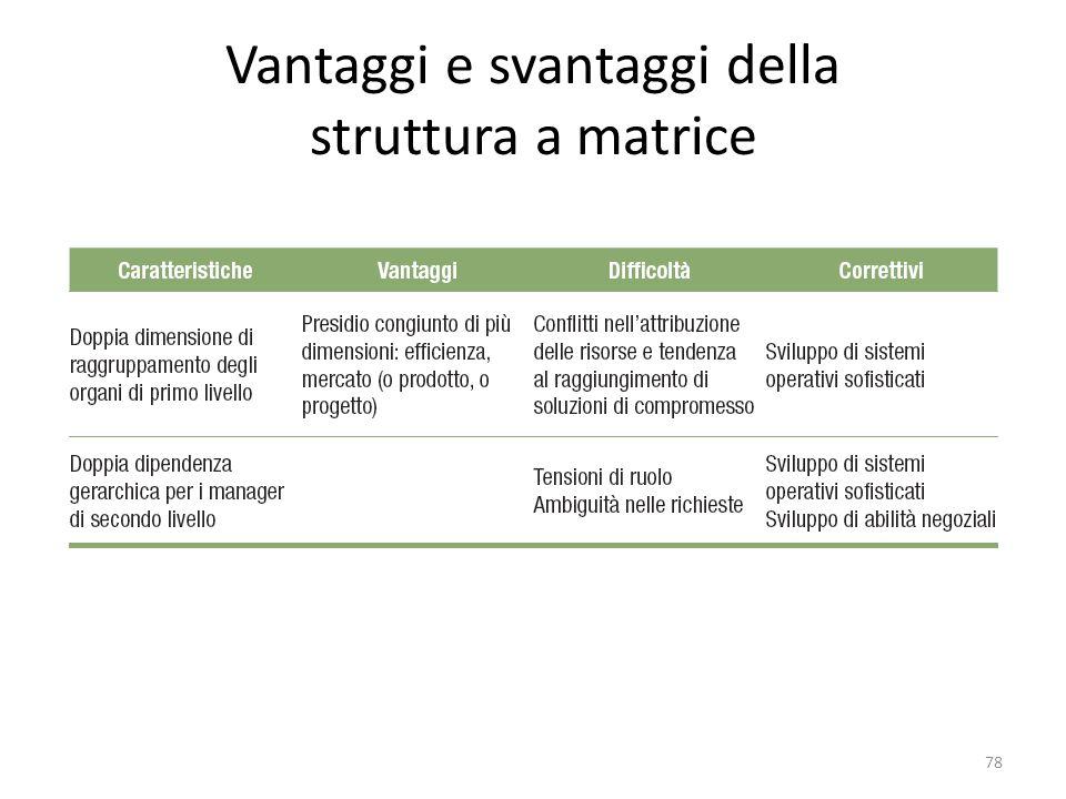 Vantaggi e svantaggi della struttura a matrice