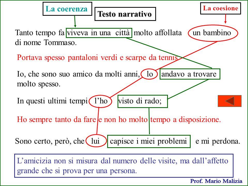 Prof. Mario Malizia La coerenza Testo narrativo