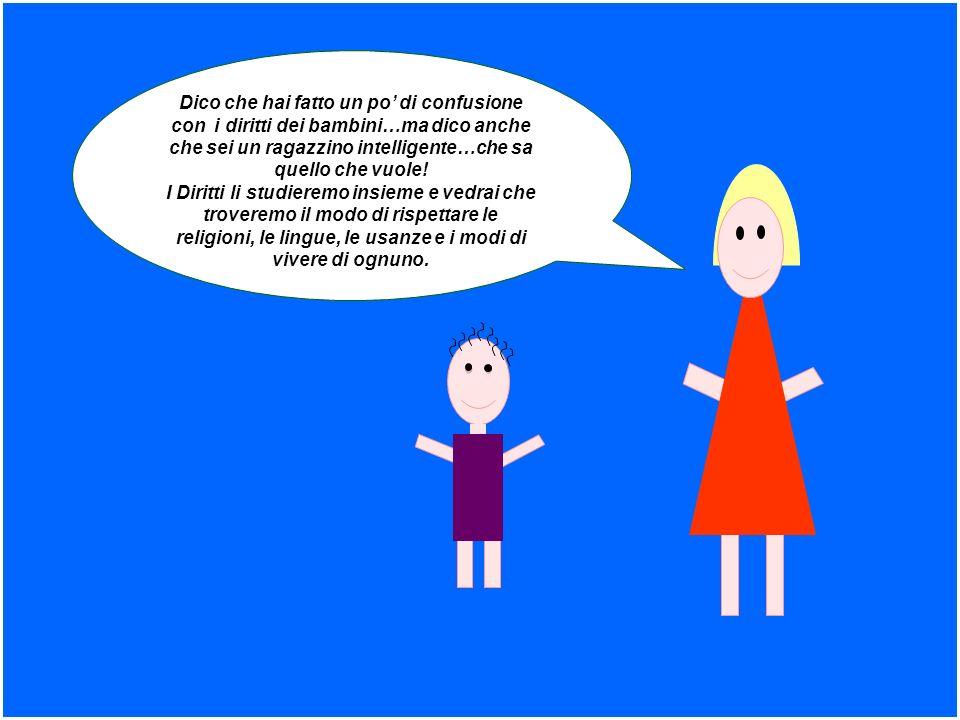 Dico che hai fatto un po' di confusione con i diritti dei bambini…ma dico anche che sei un ragazzino intelligente…che sa quello che vuole!