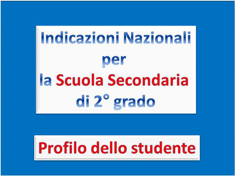 Indicazioni Nazionali Profilo dello studente