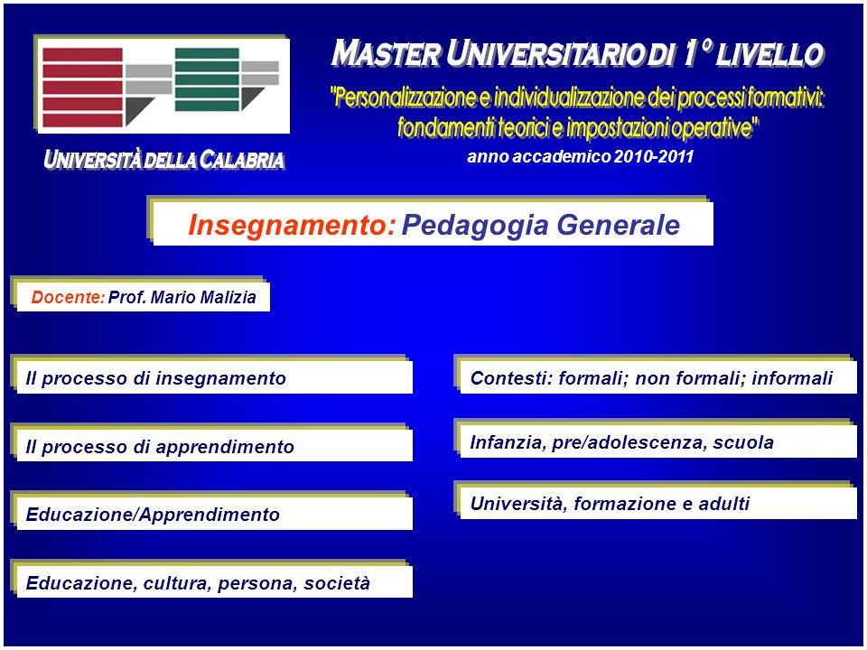 Insegnamento: Pedagogia Generale Docente: Prof. Mario Malizia