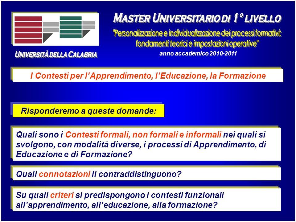 Università della Calabria Master Universitario di 1° livello