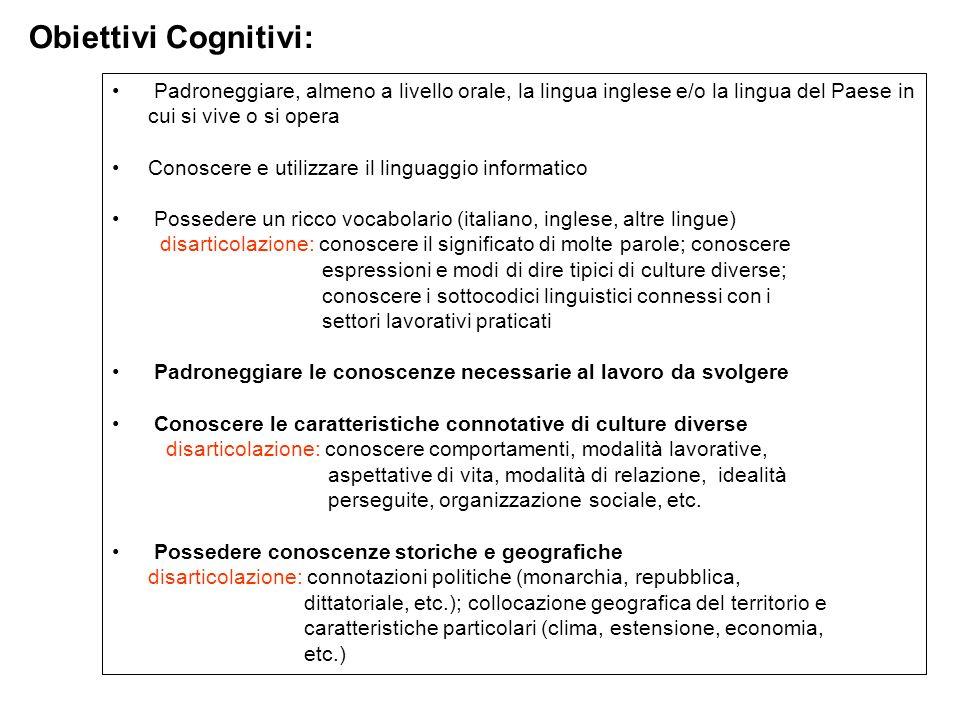 Obiettivi Cognitivi: Padroneggiare, almeno a livello orale, la lingua inglese e/o la lingua del Paese in cui si vive o si opera.