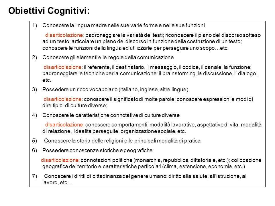Obiettivi Cognitivi:Conoscere la lingua madre nelle sue varie forme e nelle sue funzioni.
