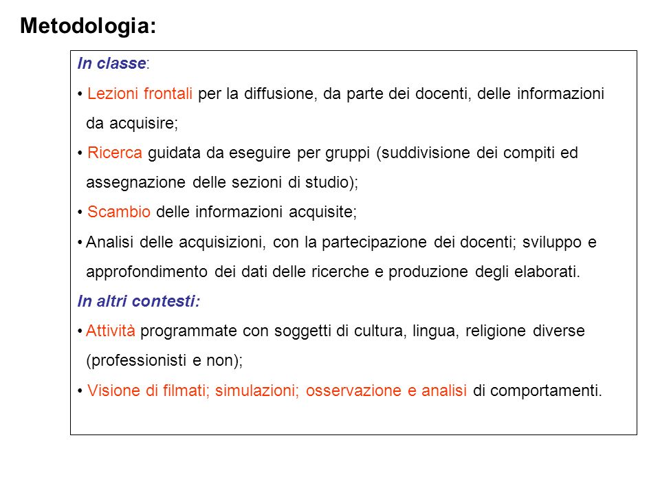 Metodologia: In classe: