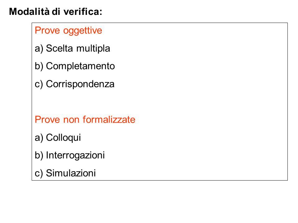 Modalità di verifica: Prove oggettive. Scelta multipla. Completamento. Corrispondenza. Prove non formalizzate.