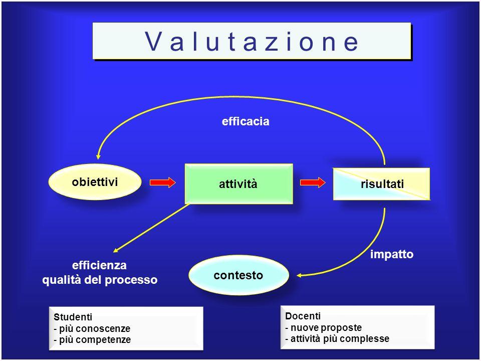 V a l u t a z i o n e efficacia obiettivi attività risultati impatto