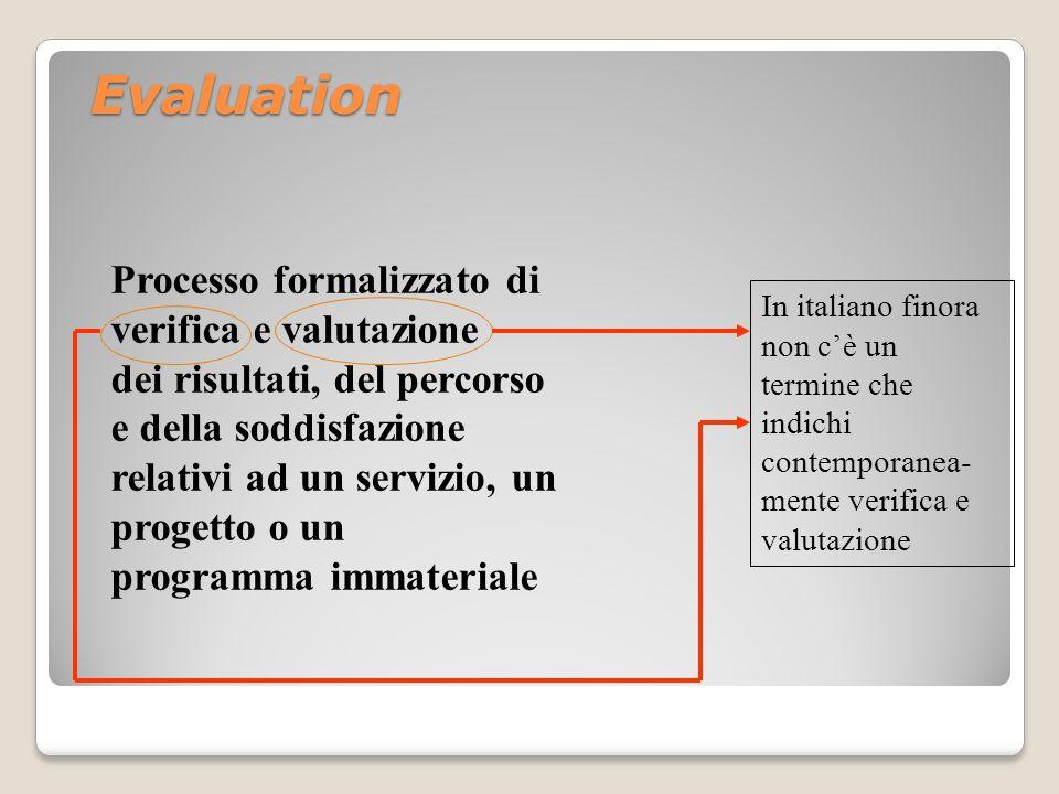 Evaluation Processo formalizzato di verifica e valutazione
