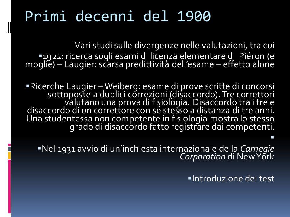 Primi decenni del 1900 Vari studi sulle divergenze nelle valutazioni, tra cui.