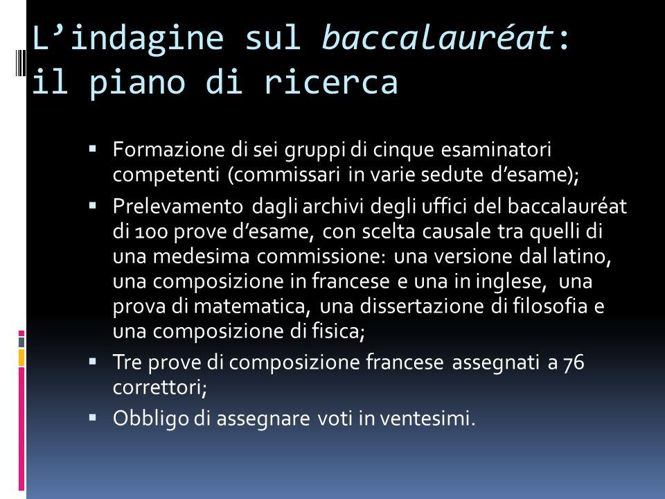 L'indagine sul baccalauréat: il piano di ricerca