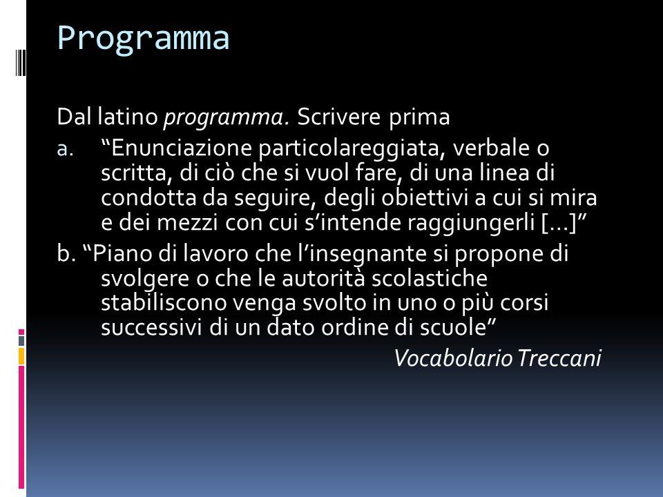 Programma Dal latino programma. Scrivere prima