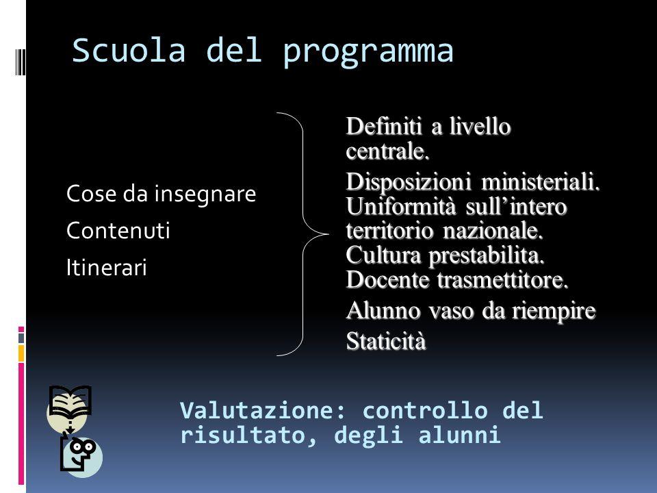 Scuola del programma Definiti a livello centrale.