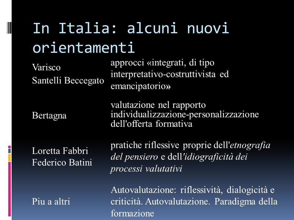 In Italia: alcuni nuovi orientamenti