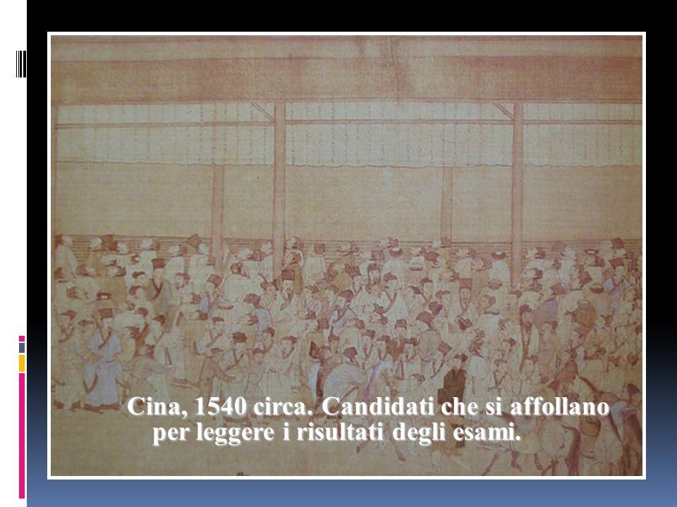 Cina, 1540 circa. Candidati che si affollano per leggere i risultati degli esami.