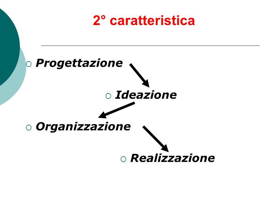 2° caratteristica Progettazione Ideazione Organizzazione Realizzazione
