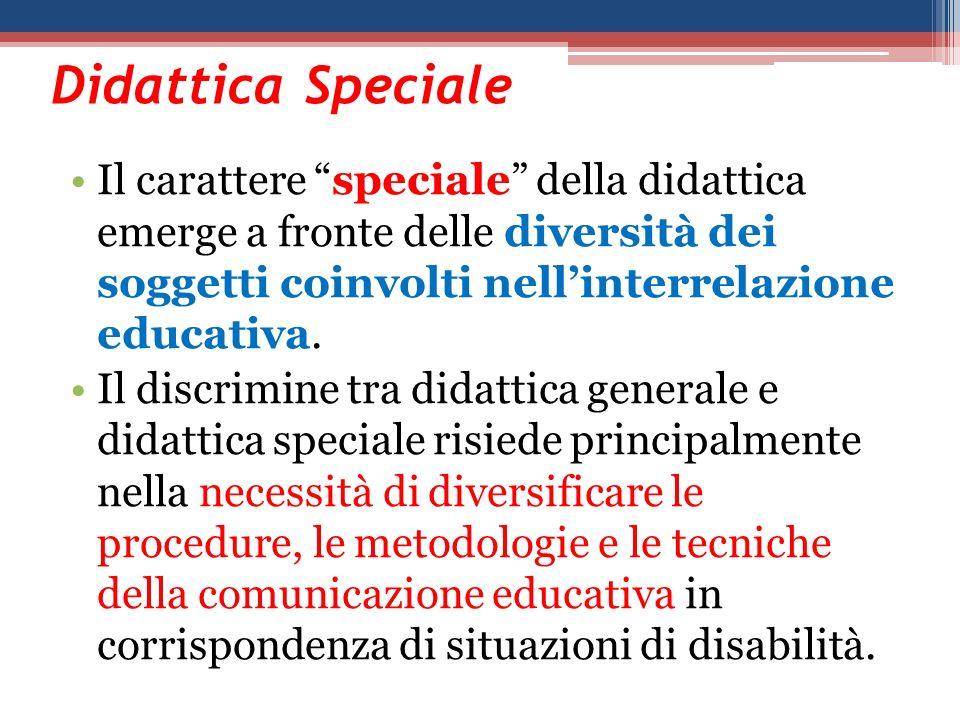 Didattica Speciale Il carattere speciale della didattica emerge a fronte delle diversità dei soggetti coinvolti nell'interrelazione educativa.