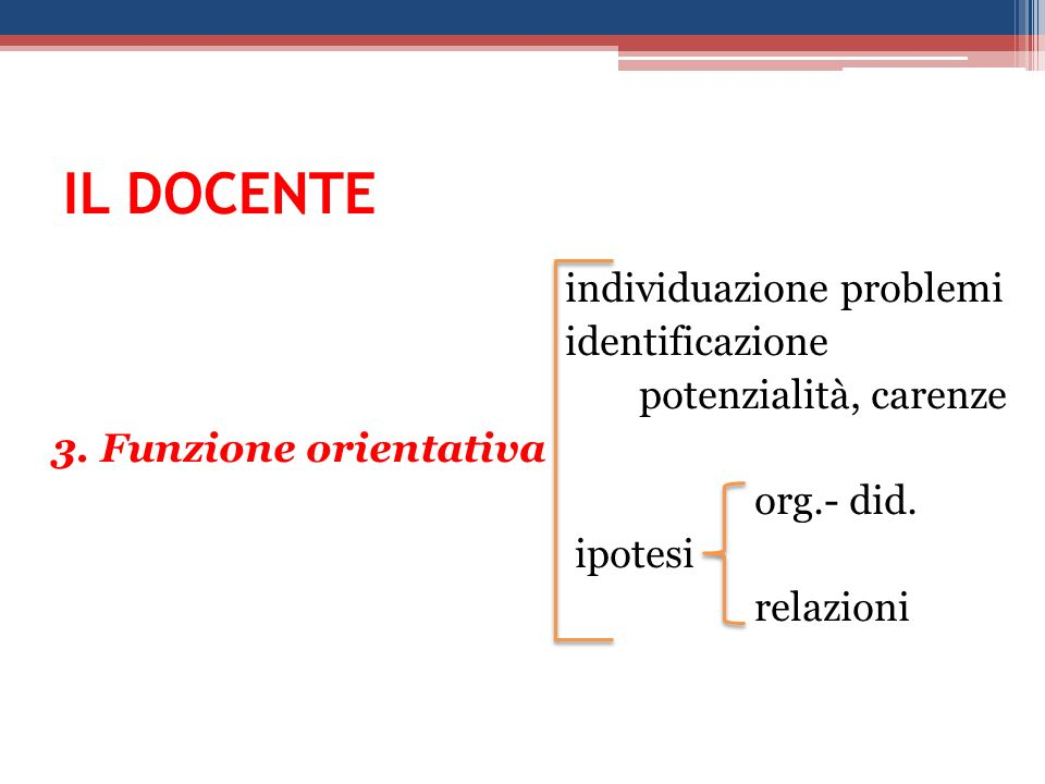 IL DOCENTE individuazione problemi identificazione potenzialità, carenze 3.
