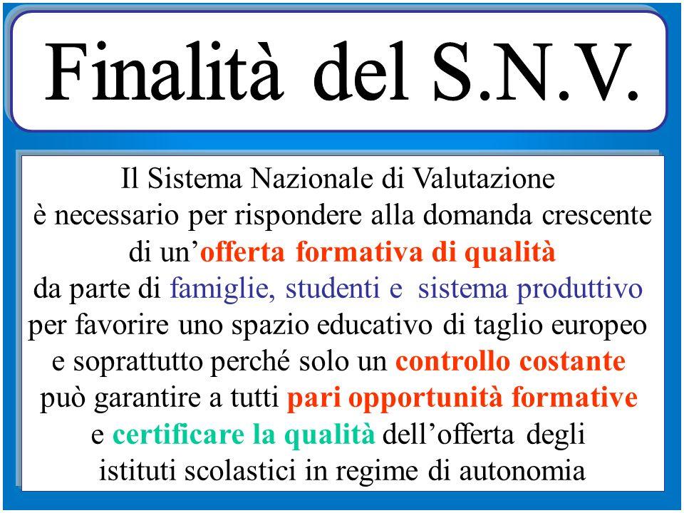 Finalità del S.N.V. Il Sistema Nazionale di Valutazione