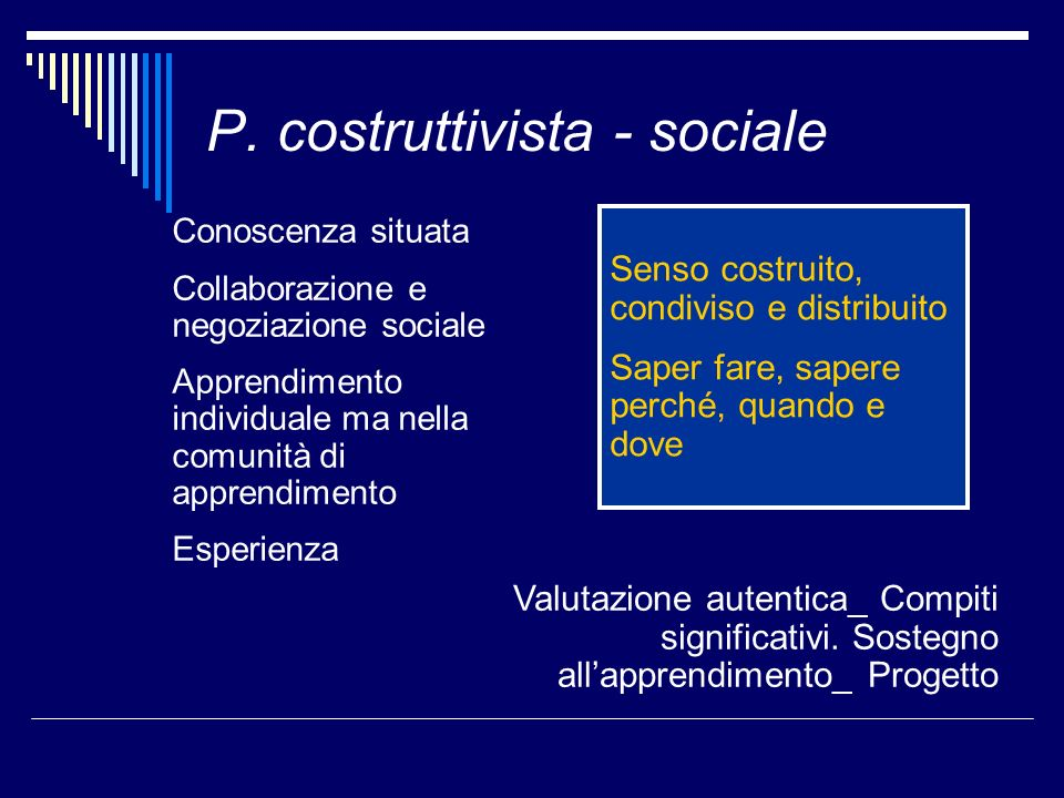 P. costruttivista - sociale