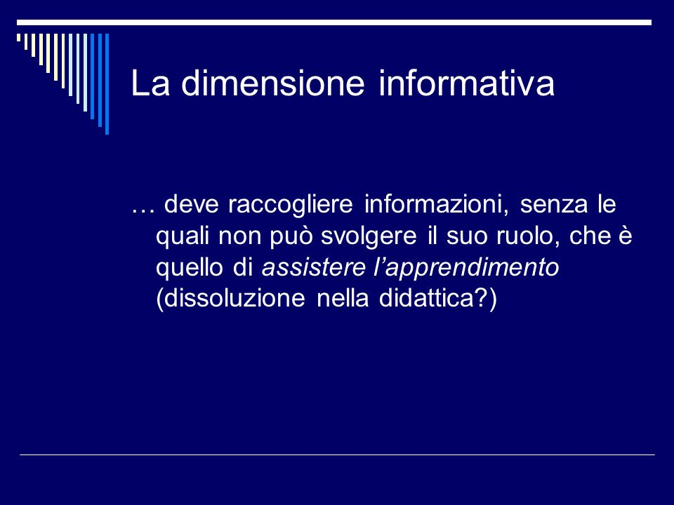 La dimensione informativa