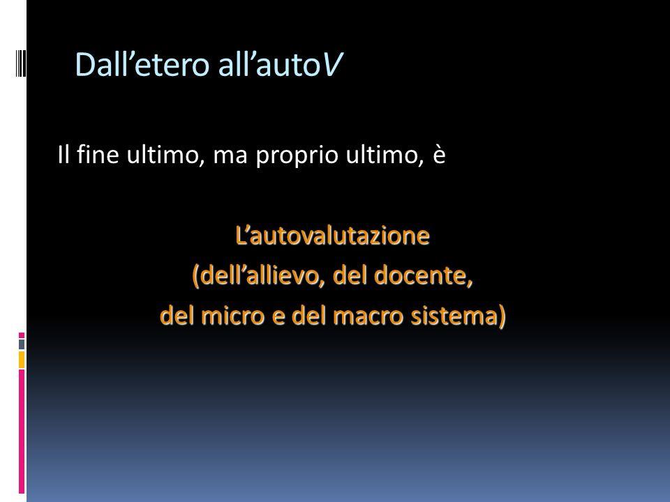 Dall'etero all'autoV Il fine ultimo, ma proprio ultimo, è L'autovalutazione (dell'allievo, del docente, del micro e del macro sistema)