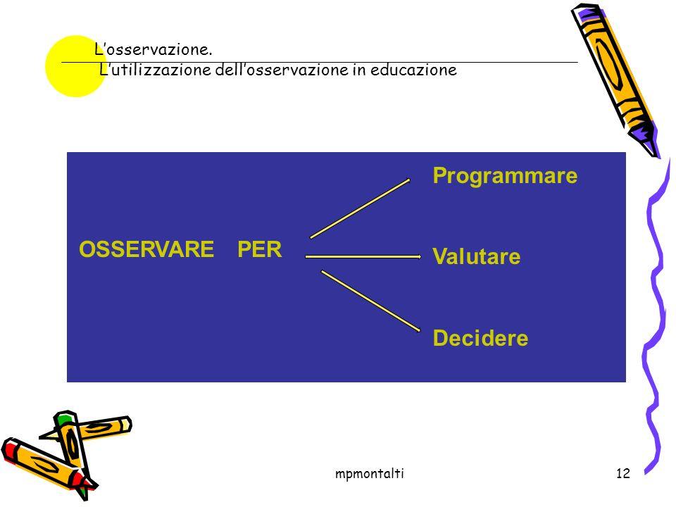 Programmare Valutare OSSERVARE PER Decidere