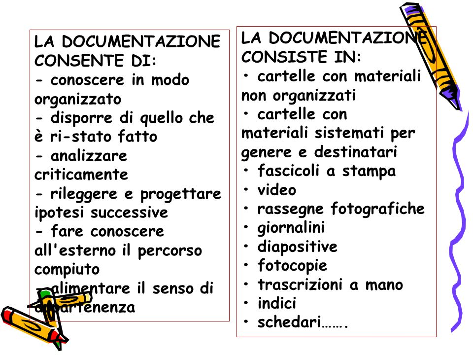 LA DOCUMENTAZIONE CONSISTE IN: