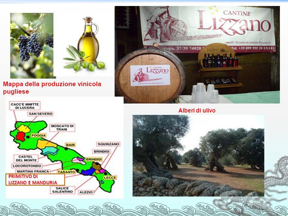 Mappa della produzione vinicola pugliese