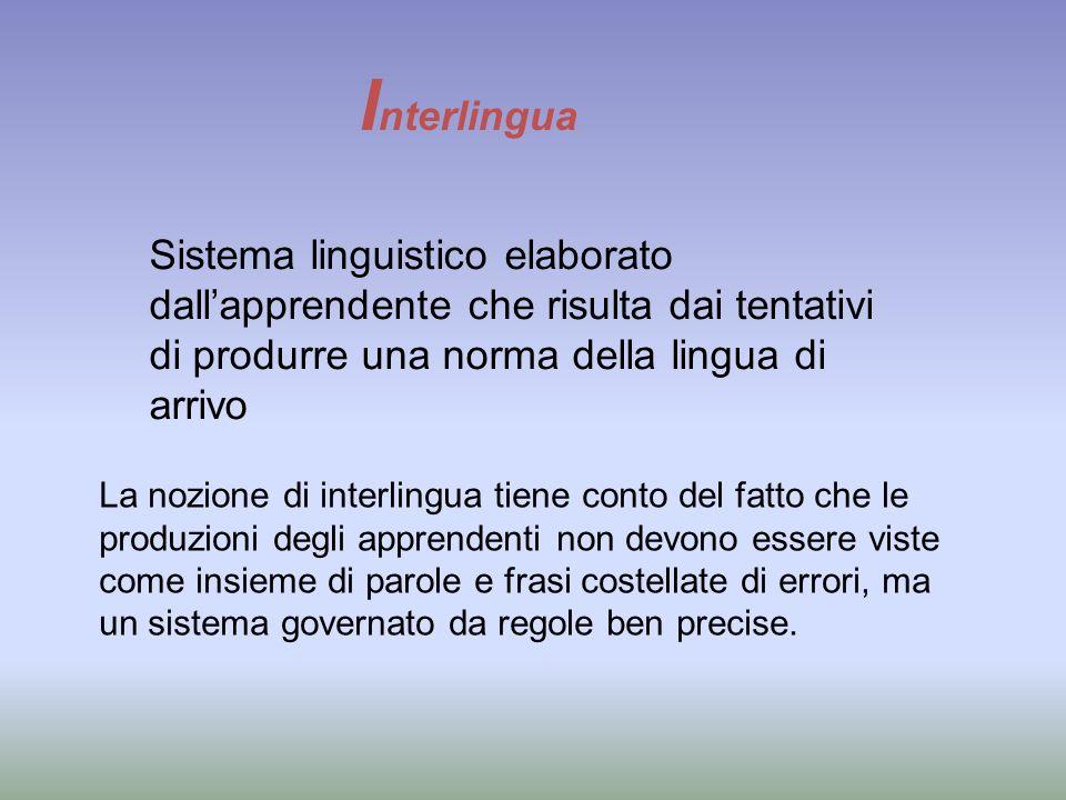 Interlingua Sistema linguistico elaborato dall'apprendente che risulta dai tentativi di produrre una norma della lingua di arrivo.