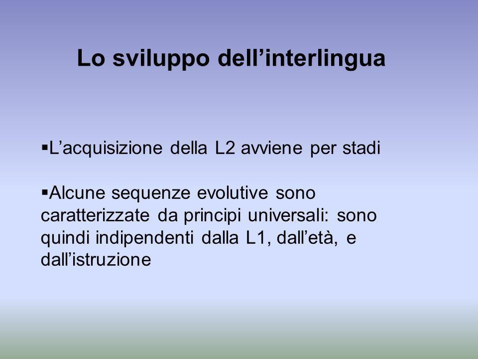 Lo sviluppo dell'interlingua