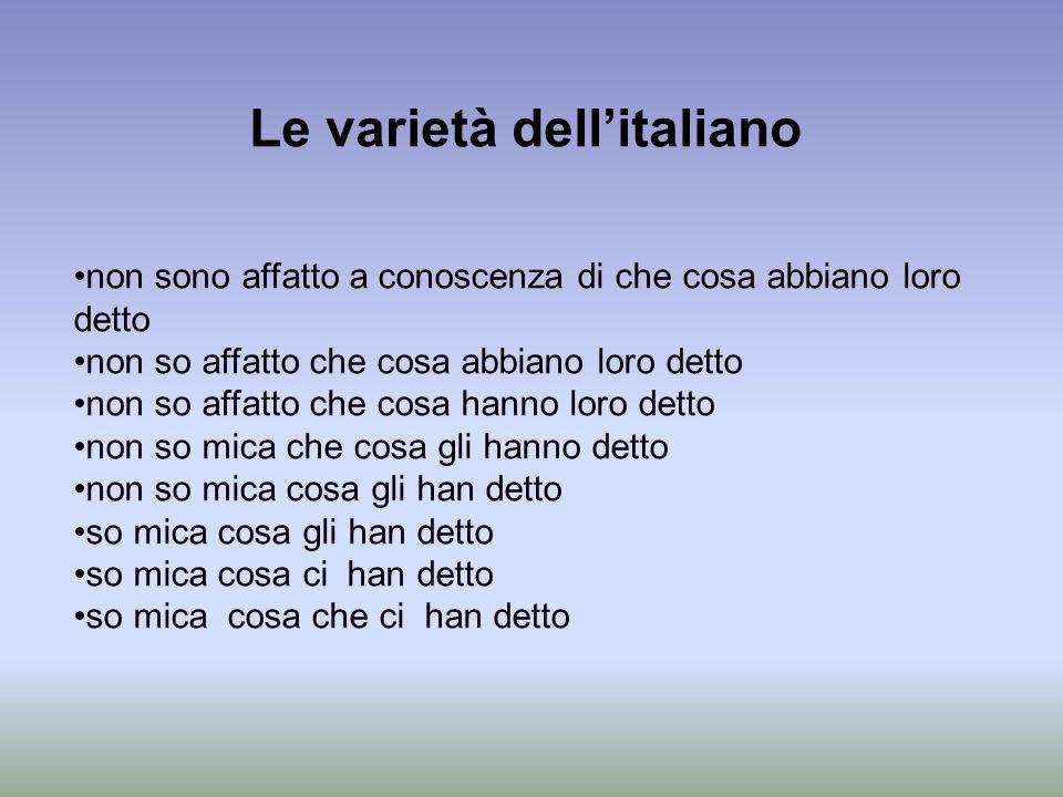 Le varietà dell'italiano