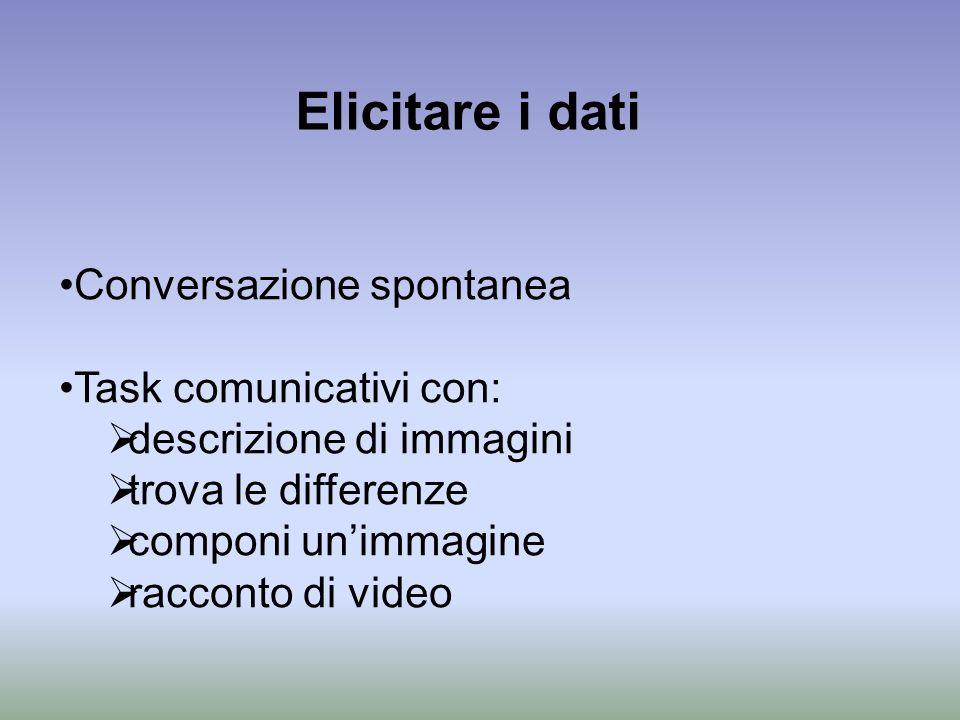 Elicitare i dati Conversazione spontanea Task comunicativi con: