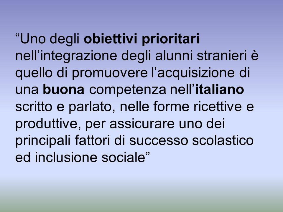 Uno degli obiettivi prioritari nell'integrazione degli alunni stranieri è quello di promuovere l'acquisizione di una buona competenza nell'italiano scritto e parlato, nelle forme ricettive e produttive, per assicurare uno dei principali fattori di successo scolastico ed inclusione sociale