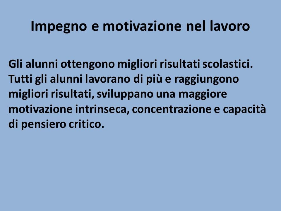 Impegno e motivazione nel lavoro
