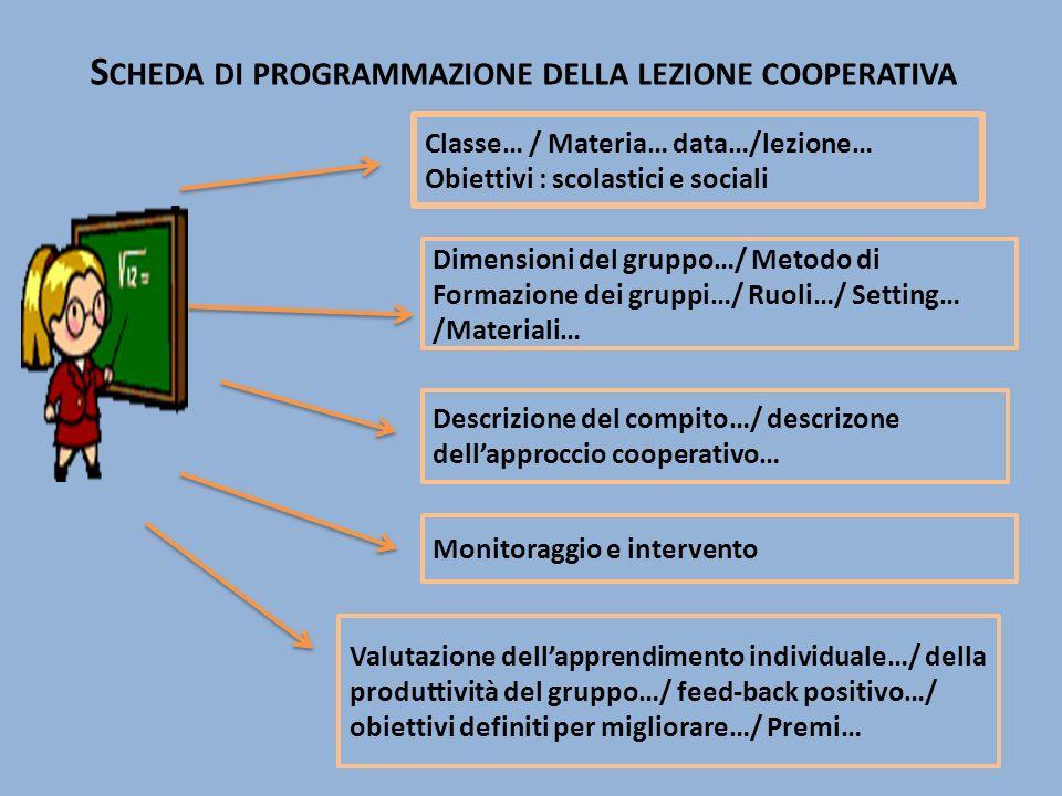 Scheda di programmazione della lezione cooperativa