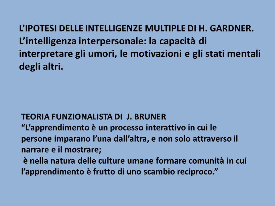 L'ipotesi delle intelligenze multiple di H. Gardner.