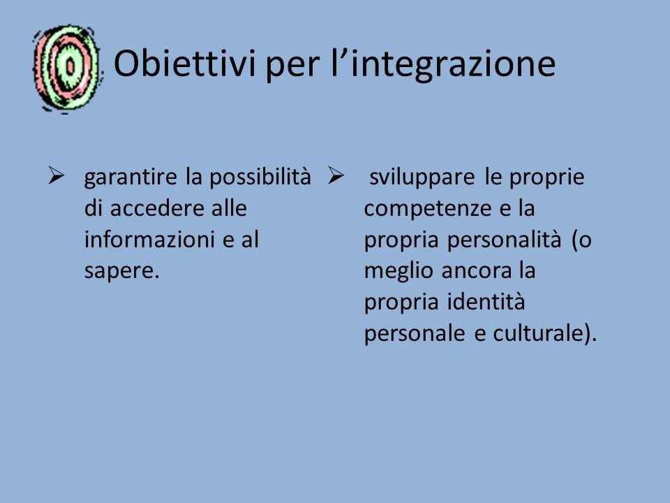 Obiettivi per l'integrazione