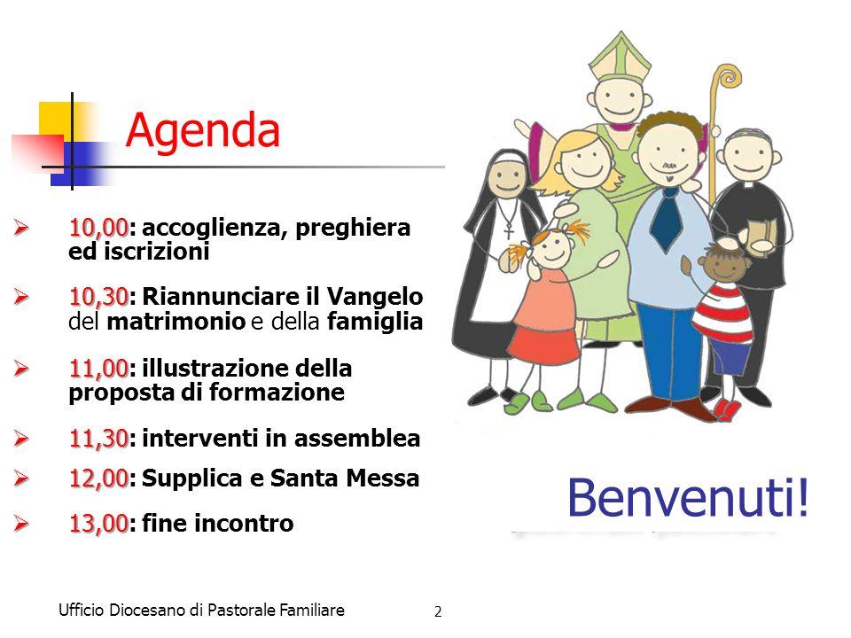 Benvenuti! Agenda 10,00: accoglienza, preghiera ed iscrizioni