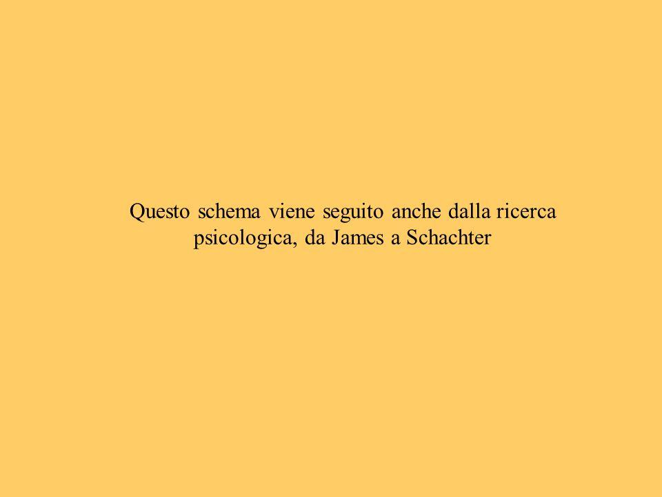 Questo schema viene seguito anche dalla ricerca psicologica, da James a Schachter