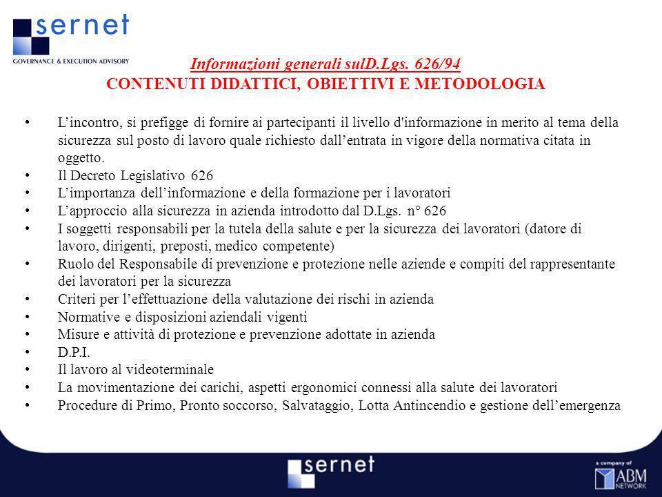 Informazioni generali sulD.Lgs. 626/94
