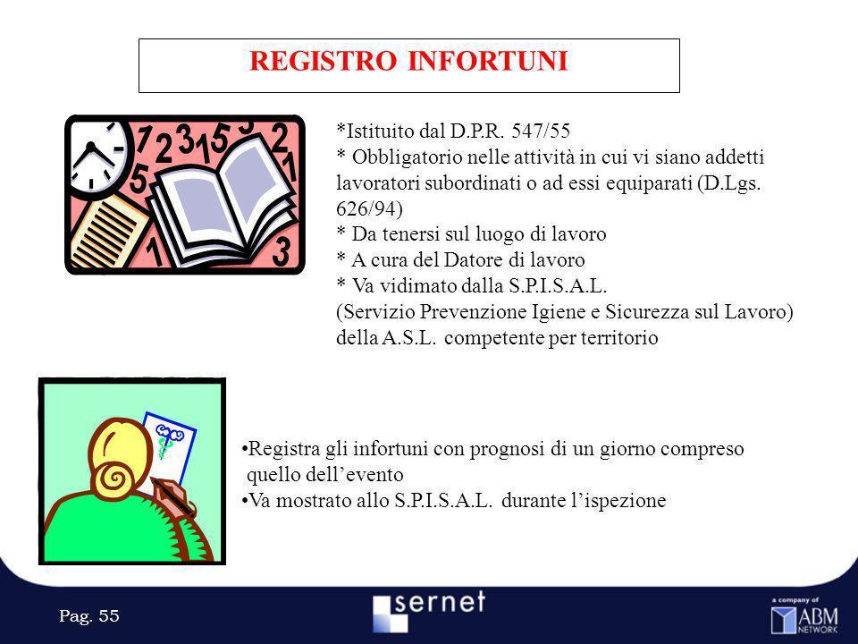 REGISTRO INFORTUNI *Istituito dal D.P.R. 547/55