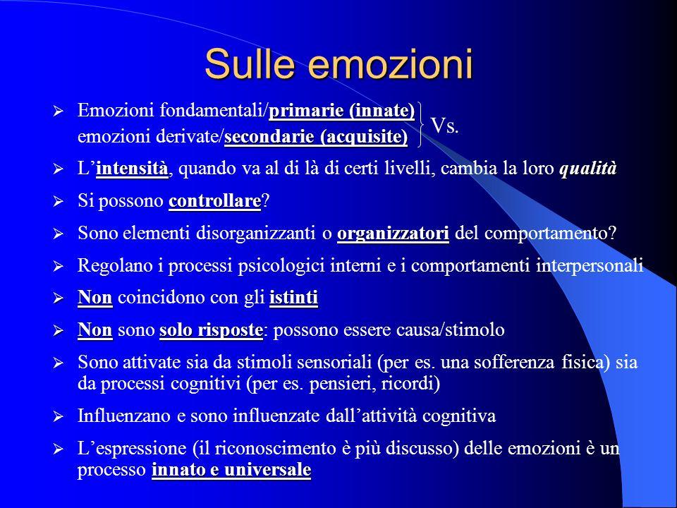 Sulle emozioni Vs. Emozioni fondamentali/primarie (innate)
