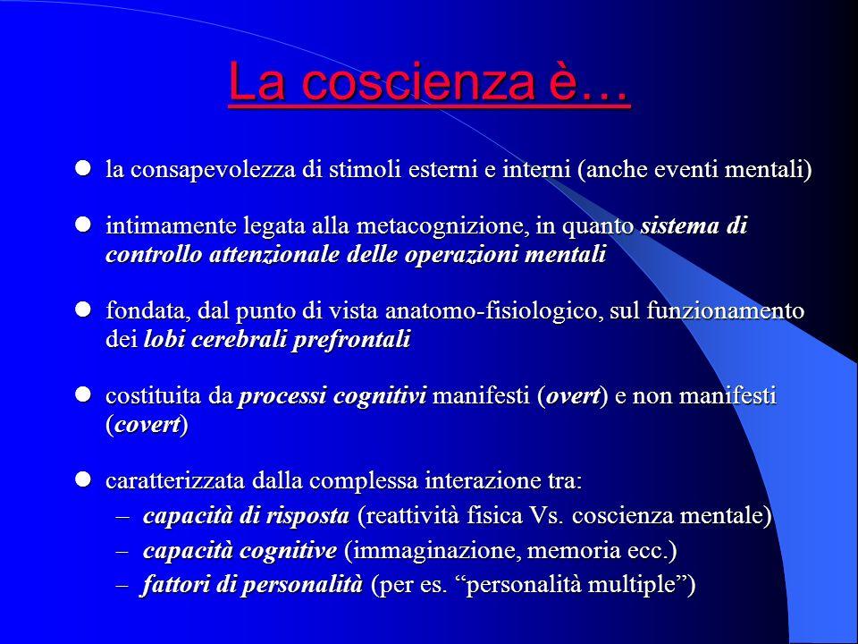 La coscienza è… la consapevolezza di stimoli esterni e interni (anche eventi mentali)