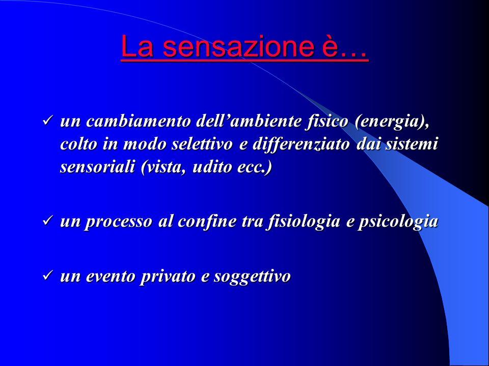 La sensazione è… un cambiamento dell'ambiente fisico (energia), colto in modo selettivo e differenziato dai sistemi sensoriali (vista, udito ecc.)